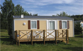 One of the mobile homes for rent at the La Plage Verte Campsite